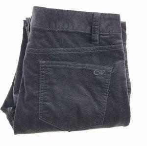 Vineyard Vines gray velvet high rise pants size 6